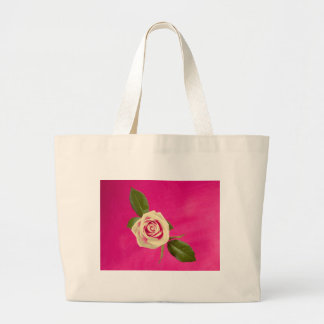 Deep Yellow Rose On Deep Pink Background Large Tote Bag