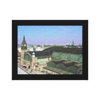 DeepDream Cities, Hamburg Mainstation Gallery Wrap Canvas