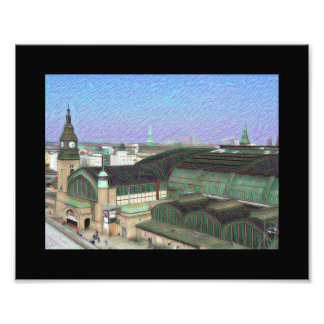 DeepDream Cities, Hamburg Mainstation Photo Art