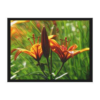 DeepDream Flowers, Orange Lilly, Iris Canvas Print