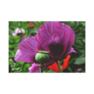 DeepDream Flowers, Poppies Gallery Wrap Canvas