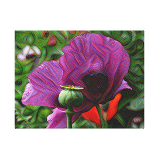DeepDream Flowers, Poppies Stretched Canvas Print