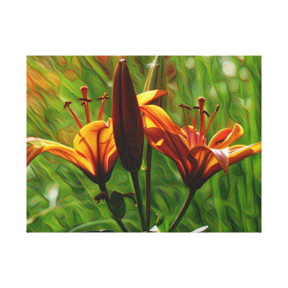 DeepDream style, Orange Lilly Gallery Wrapped Canvas