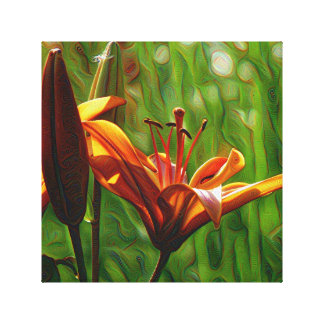 DeepDream style, Orange Lilly Stretched Canvas Prints