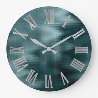 DeepTeal Silver Gray Minimal Metallic Roman Numers Large Clock