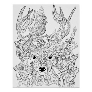 Deer and Bird drawing adult colouring poster