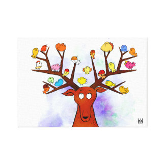 Deer and birds canvas print