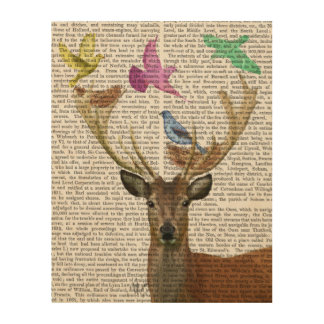 Deer and Birds Nests Pastel Shades Wood Print