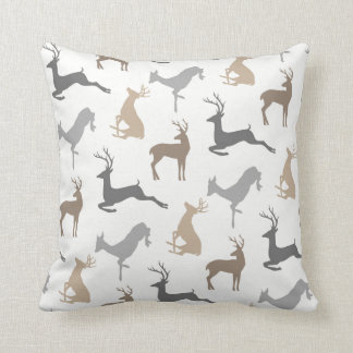 Deer and Buck Pattern in Brown Neutrals Cushion