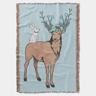 Deer and Bunny Throw Blanket