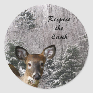 Deer and Frosty Hills Earth Day Round Sticker