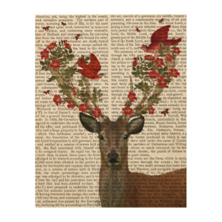 Deer and Love Birds Wood Wall Art