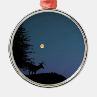 Deer and Moon Silhouette Christmas Ornament