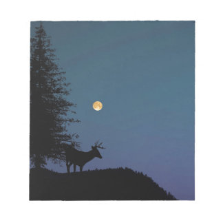 Deer and Moon Silhouette Notepad