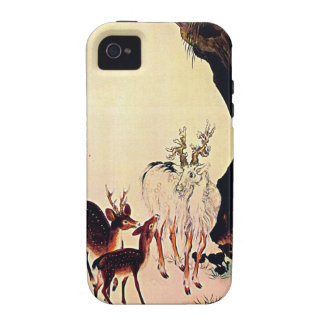 Deer and Mountain Goat Japanese Woodblock Art iPhone 4 Cover