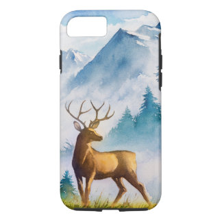 Deer and Mountain in Watercolor iPhone 8/7 Case