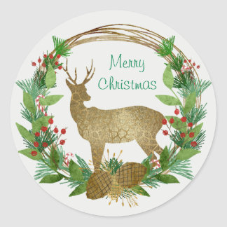 Deer and Pine Bough Merry Christmas Wreath Classic Round Sticker