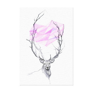 Deer and pink geometric heart drawing canvas print