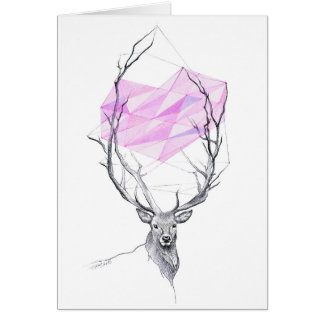 Deer and pink geometric heart drawing Card