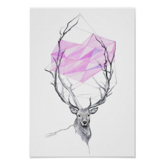 Deer and pink geometric heart drawing Poster