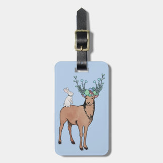 Deer and Rabbit Luggage Tag