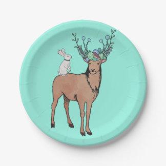 Deer and Rabbit Paper Plate