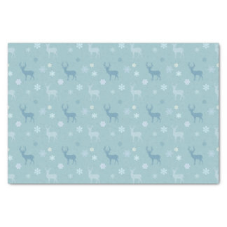 Deer and Snowflakes Christmas Blue Tissue Paper