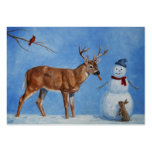 Deer and Snowman Christmas Pack Of Chubby Business Cards