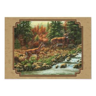 Deer and Stream Waterfall Tan 13 Cm X 18 Cm Invitation Card