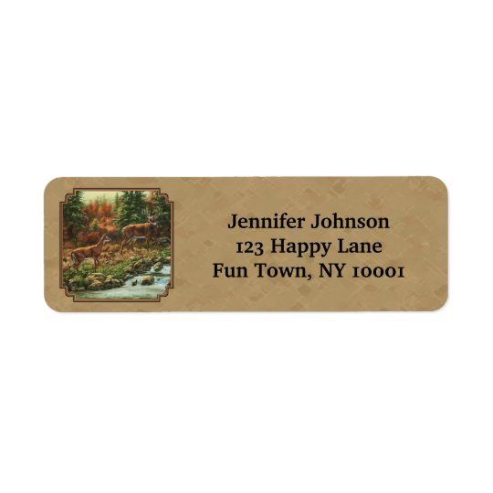 Deer and Stream Waterfall Tan Return Address Label
