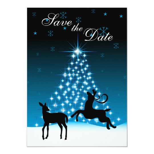 Deer and Tree of Lights Snowy Night Save the Date Card