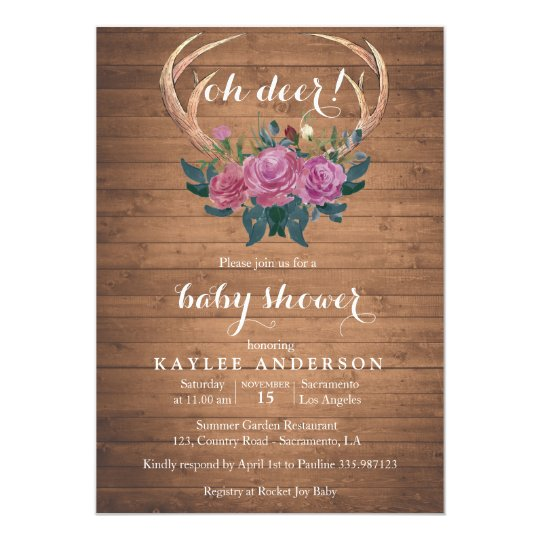 Deer Antler Rustic chic Baby shower invitation