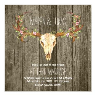Deer Antler Rustic Wood Southwestern Wedding 13 Cm X 13 Cm Square Invitation Card