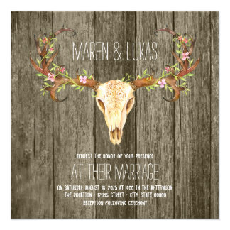 Deer Antler Rustic Wood Southwestern Wedding Card