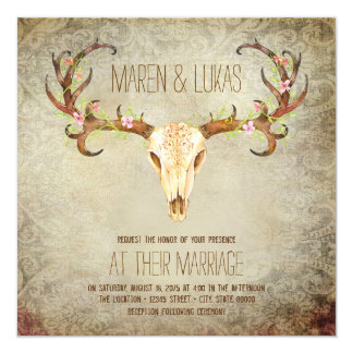 Deer Antler Skull Southwestern Wedding Card