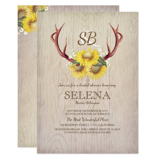 Deer Antlers and Sunflower Rustic Bridal Shower Card