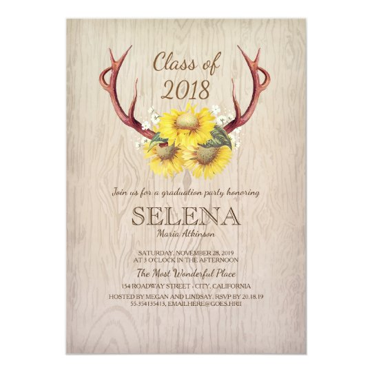 Deer Antlers and Sunflower Rustic Graduation Party Card