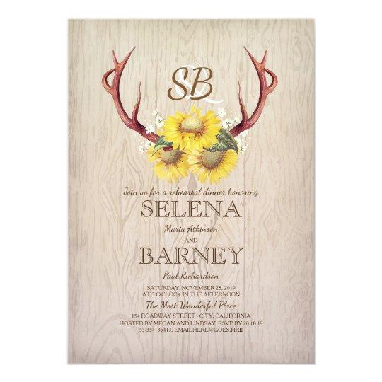 Deer Antlers and Sunflower Rustic Rehearsal Dinner Card