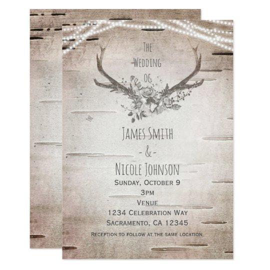 Deer Antlers & Birch Vintage Wedding Invitations