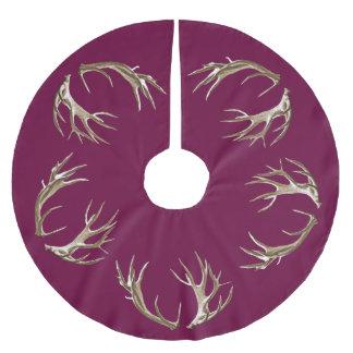 Deer Antlers Burgundy Christmas Tree Skirt