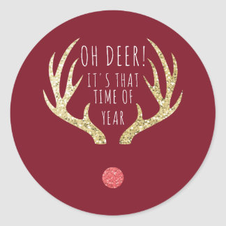 Deer Antlers Christmas Holiday Party Classic Round Sticker