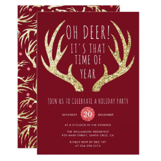 Deer Antlers Christmas Holiday Party Invitation
