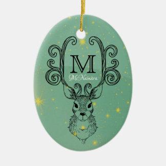 Deer Antlers Christmas Monogram Family Ornament