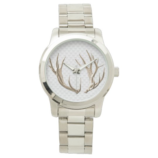 Deer Antlers on Grey Background Man's Watch