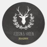 Deer Antlers | Rustic Chalkboard Envelope Seal Round Sticker
