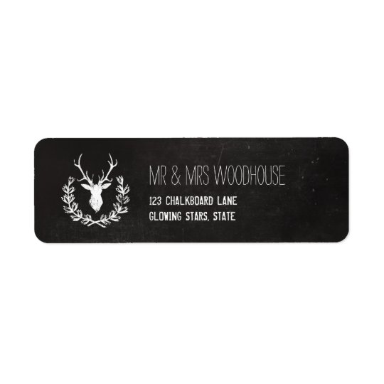 Deer Antlers | Rustic Chalkboard Return Address Label