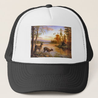 Deer At Lake Trucker Hat