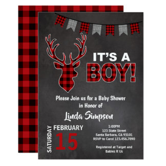 Deer Baby SHOWer Buffalo Plaid Red and Grey Card