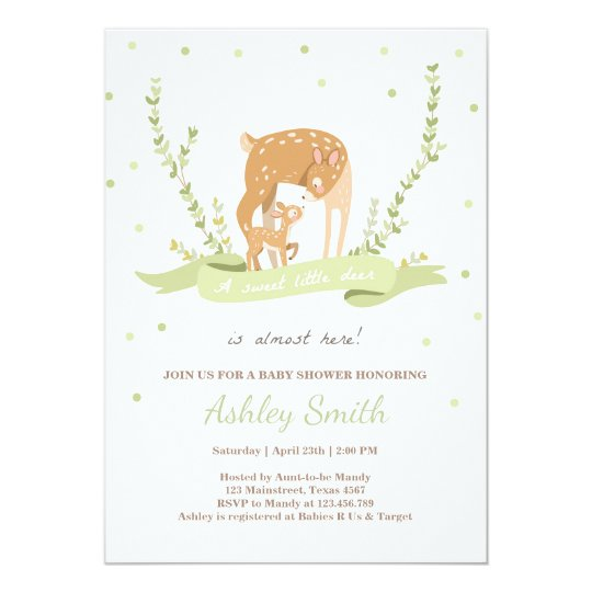 Deer baby shower invitation Woodland Forest animal
