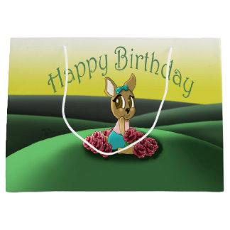 """""""Deer Birthday Gift Bag - Large, Glossy"""" Large Gift Bag"""